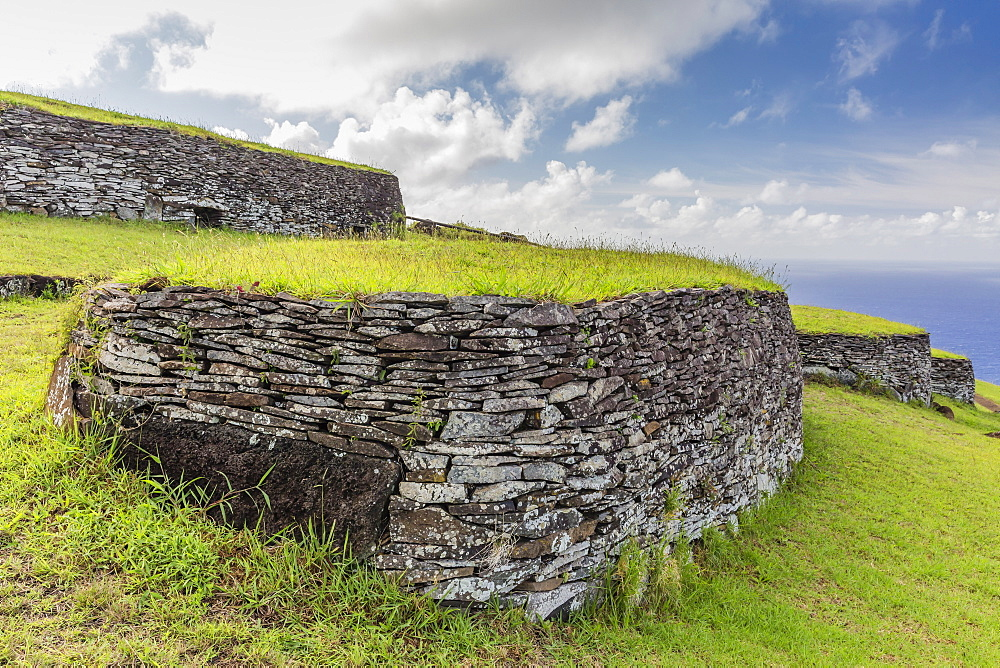 One of 53 stone masonry houses at Orongo, a stone village and Birdman ceremonial site at the southwestern tip of Easter Island, Rapa Nui National Park, UNESCO World Heritage Site, Easter Island (Isla de Pascua), Chile, South America