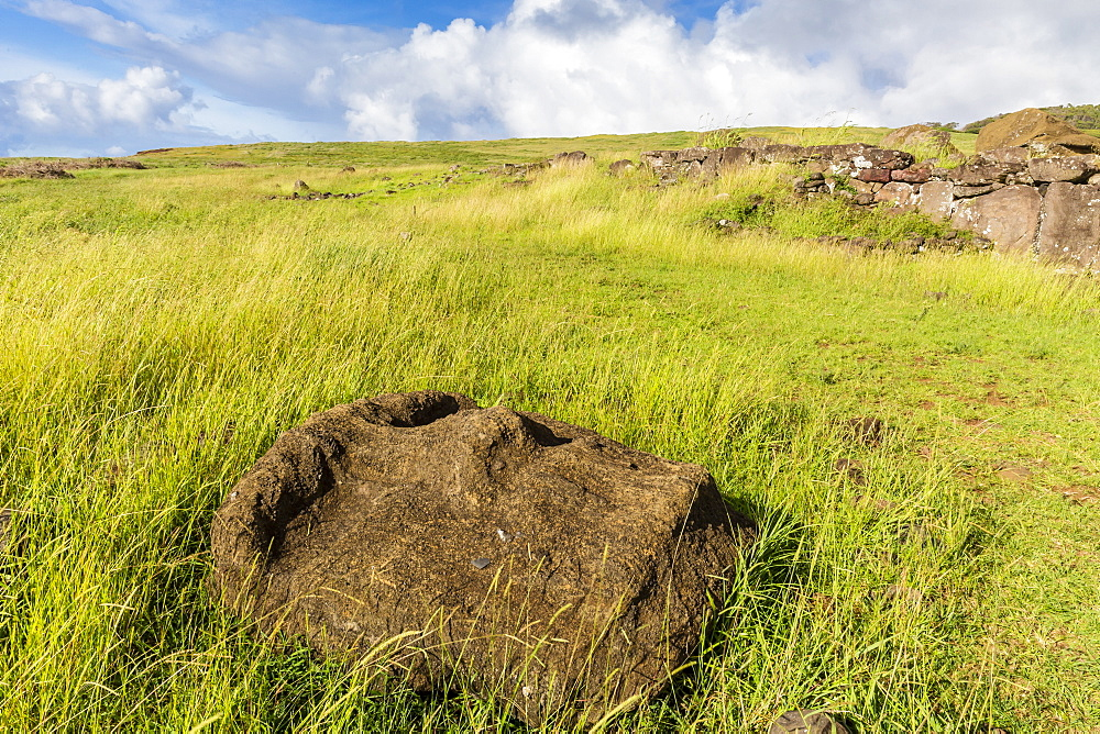 Fallen moai head at the archaeological site at Ahu Vinapu, Rapa Nui National Park, UNESCO World Heritage Site, Easter Island (Isla de Pascua), Chile, South America