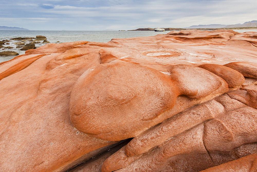 Wind-eroded sandstone rock formations in El Gato Bay, Baja California Sur, Mexico, North America