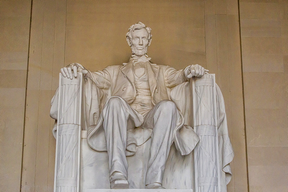 Interior view of the Lincoln statue in the Lincoln Memorial, Washington D.C., United States of America, North America
