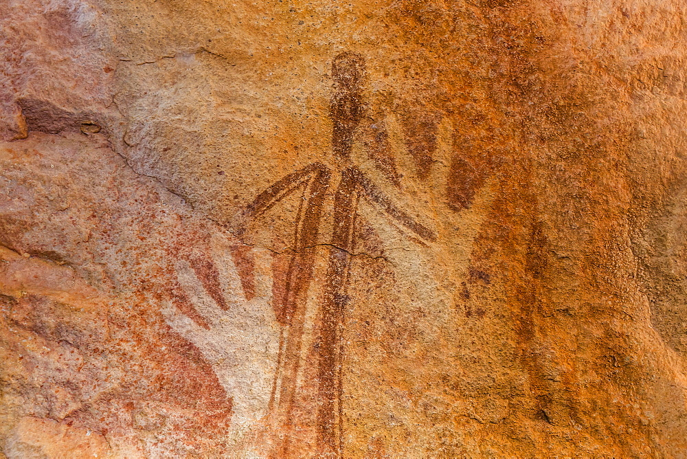 Rock art endemic to the Kimberley, called Gwion Gwion or Bradshaw Art, Vansittart Bay, Kimberley, Western Australia, Australia, Pacific