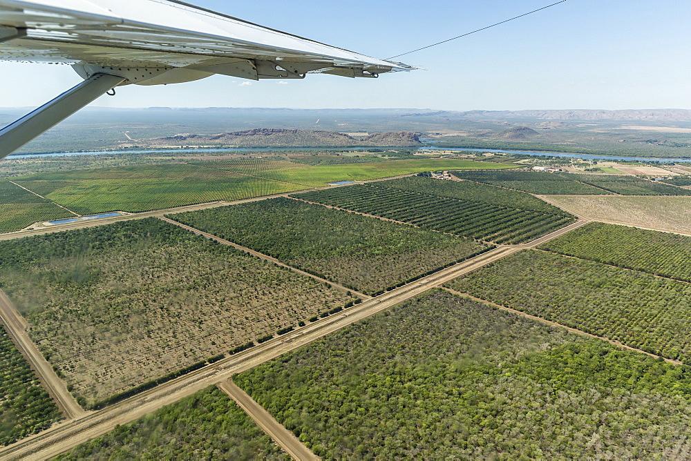 Aerial view of the man-made Ord River near the town of Kununurra, Kimberley, Western Australia, Australia, Pacific