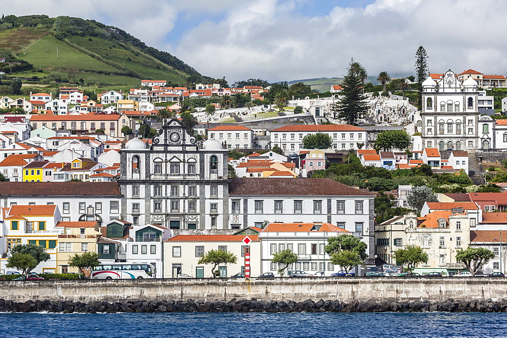 Waterfront view of the city of Horta, Faial Island, Azores, Portugal, Atlantic, Europe