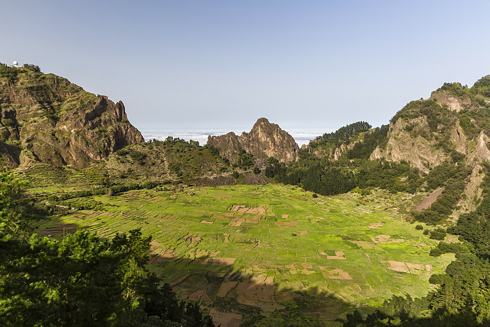 A view of the volcanic crater of Cova de Paul on Santo Antao Island, Cape Verde, Africa