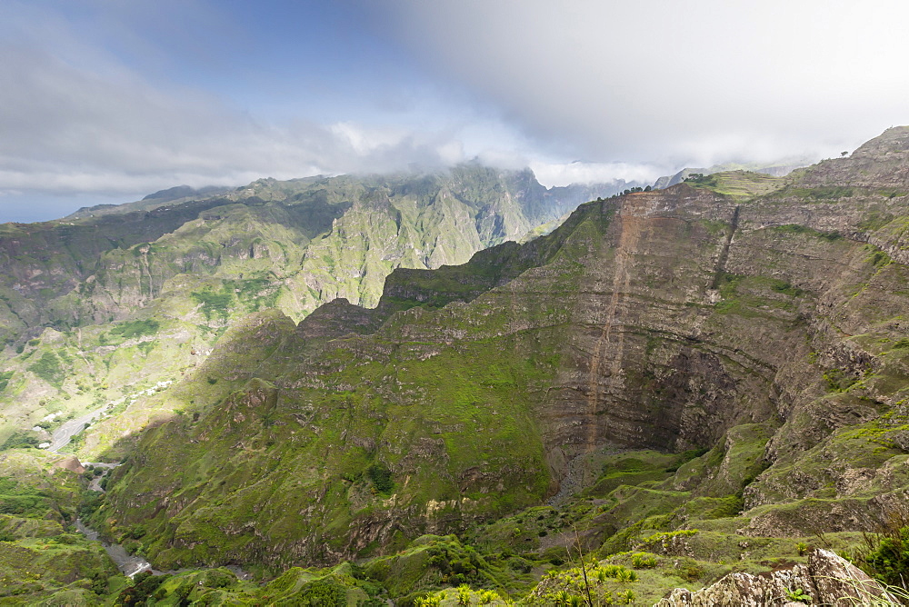 A view of the volcanic mountains surrounding Cova de Paul on Santo Antao Island, Cape Verde, Africa
