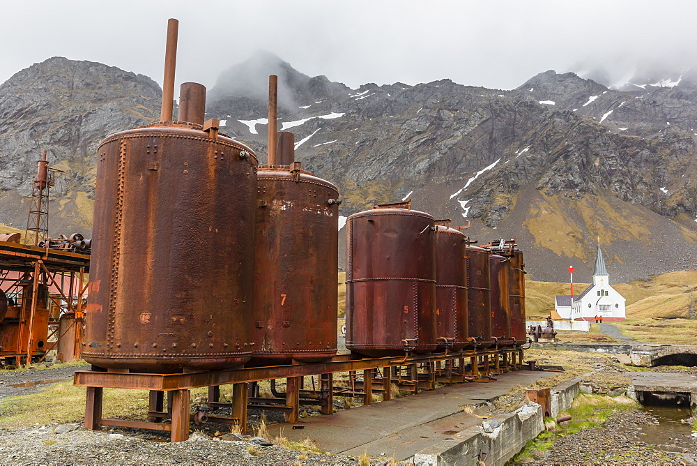 Rusting machinery at the abandoned whaling station in Grytviken Harbor, South Georgia, Polar Regions