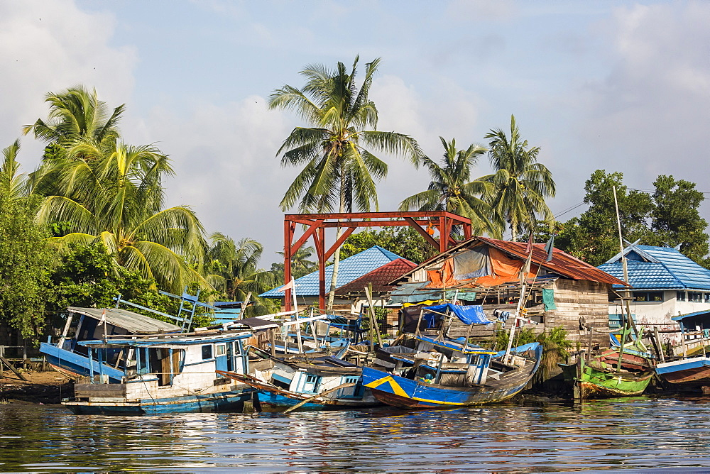 View of fishing boats on the Kumai River, Central Kalimantan province, Borneo, Indonesia, Southeast Asia, Asia