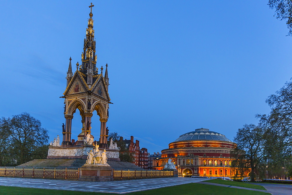 The Albert Memorial in front of the Royal Albert Hall, London, England, United Kingdom, Europe