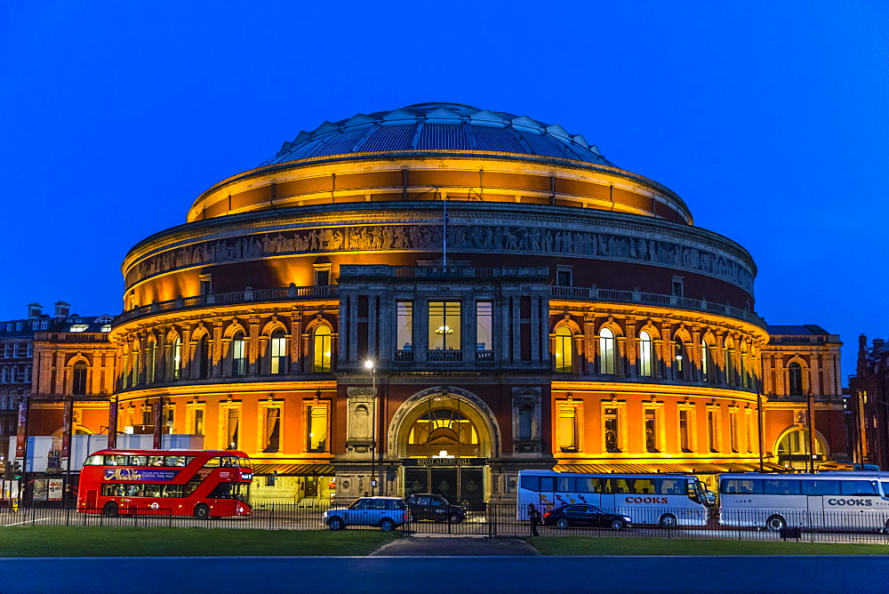 The Royal Albert Hall at night, London, England, United Kingdom, Europe