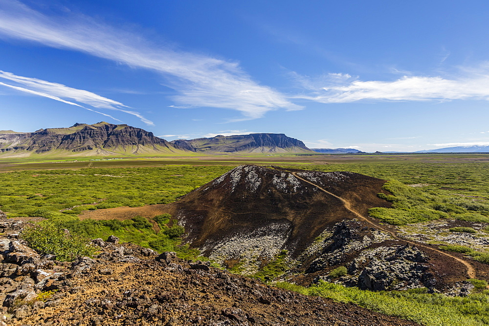 Eldborg volcanic crater, declared a Protected Natural Monument in 1974, Iceland, Polar Regions