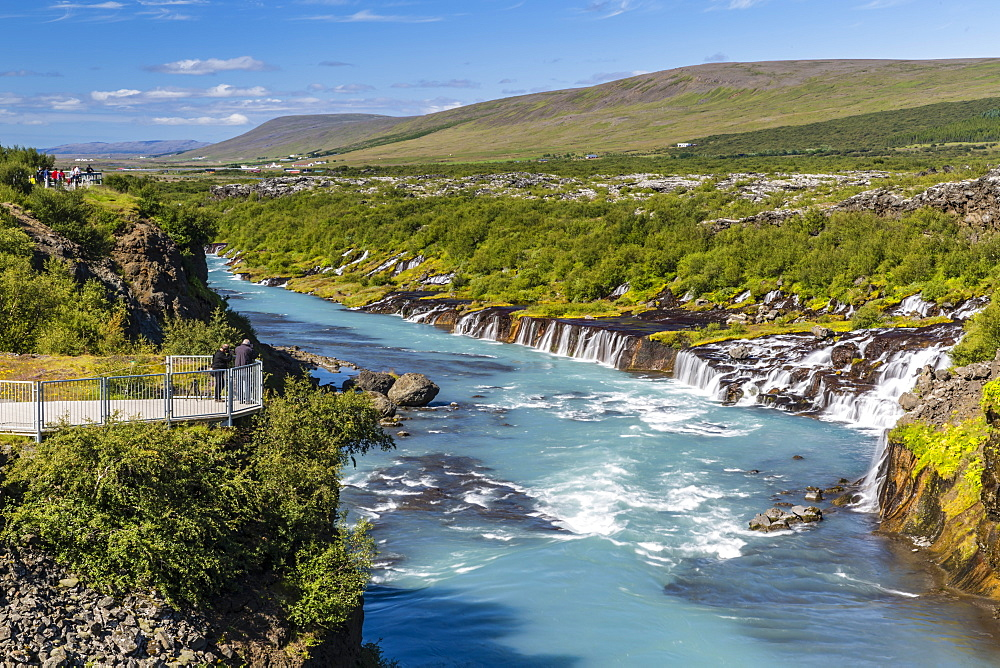 Hraunfossar, a series of waterfalls pouring into the Hvita River, Borgarfjordur, western Iceland, Polar Regions