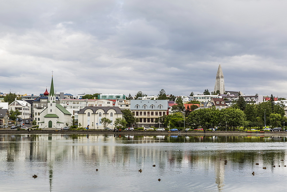 A view across the Pond of downtown Reykjavik, Iceland, Polar Regions