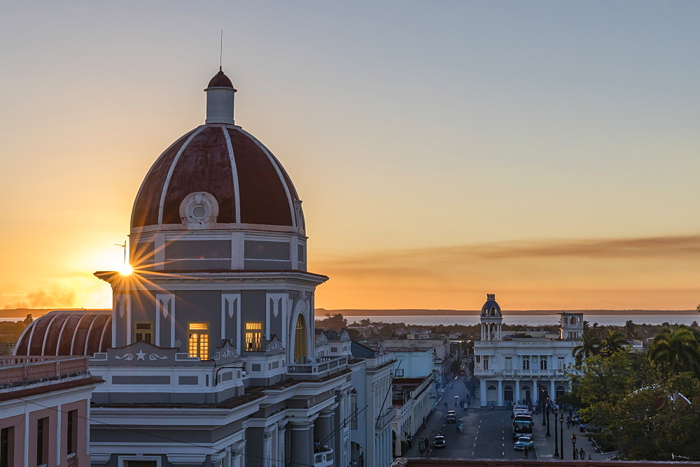 Antiguo Ayuntamiento, home of the provincial government building at sunset, UNESCO World Heritage Site, Cienfuegos, Cuba, West Indies, Caribbean, Central America