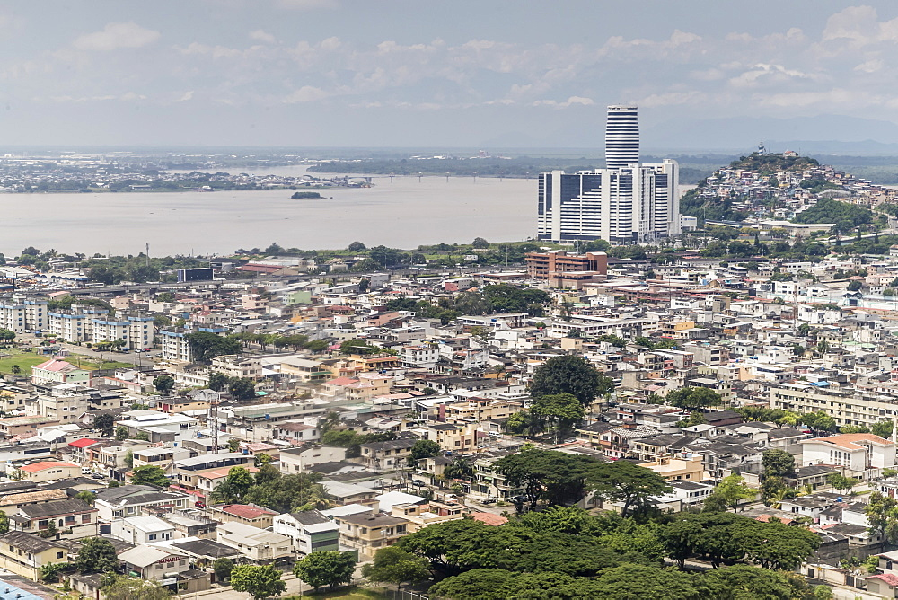 Aerial view of the city of Guayaquil, Ecuador.