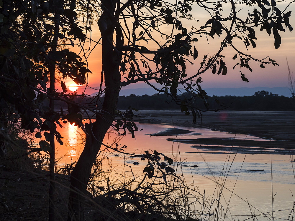 Sunset on the Luangwa River in South Luangwa National Park, Zambia, Africa - 1112-4322