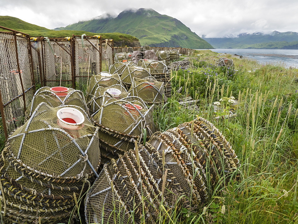 Crab fishing pots being stored at the dock in Dutch Harbor in the community of Unalaska, Alaska.