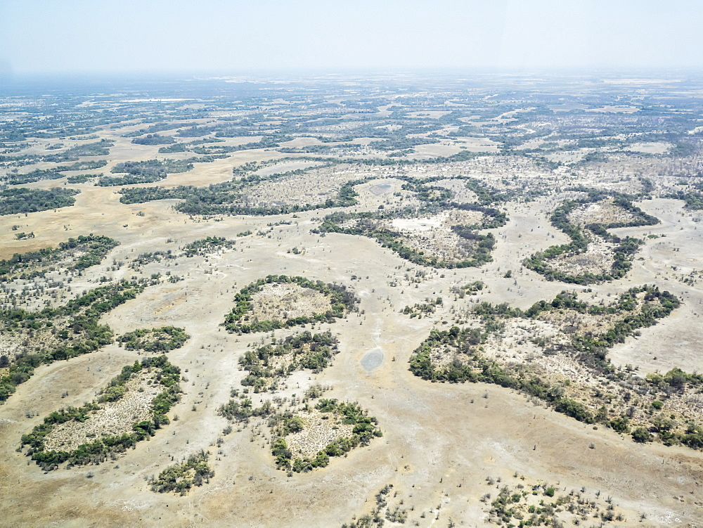 Aerial view of the Okavango Delta during drought conditions in early fall, Botswana.