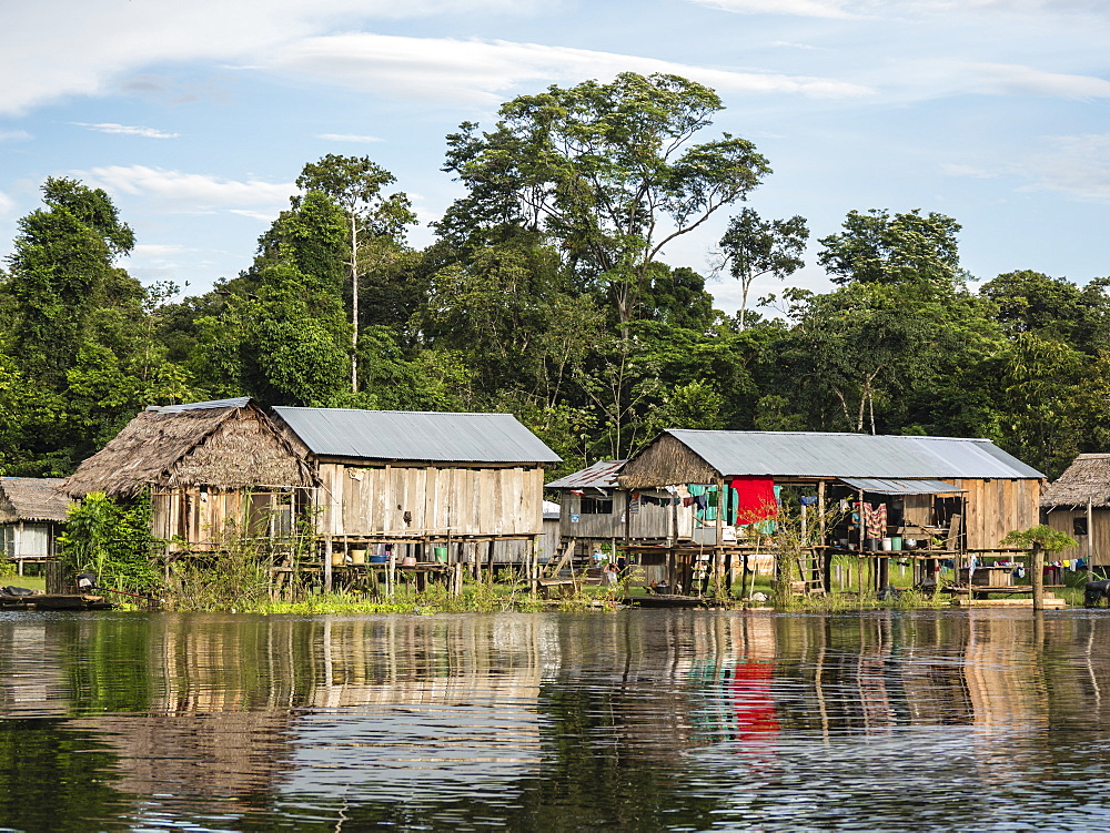 A small fishing community on Rio El Dorado, Amazon Basin, Loreto, Peru, South America