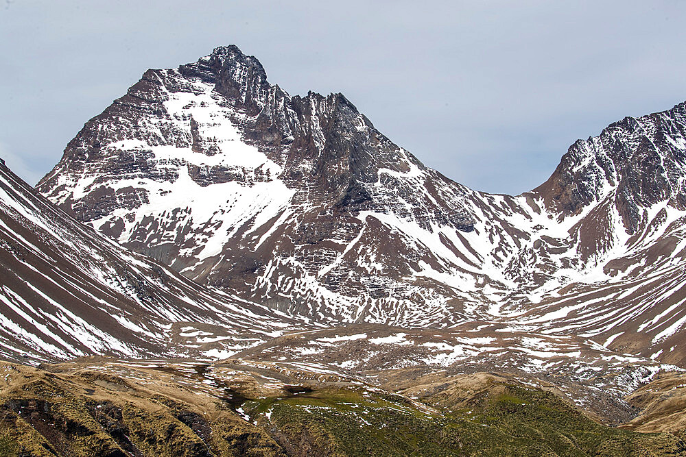 Fresh dusting of snow on the mountains surrounding Godthul, South Georgia, UK Overseas Protectorate, Polar Regions - 1112-4592