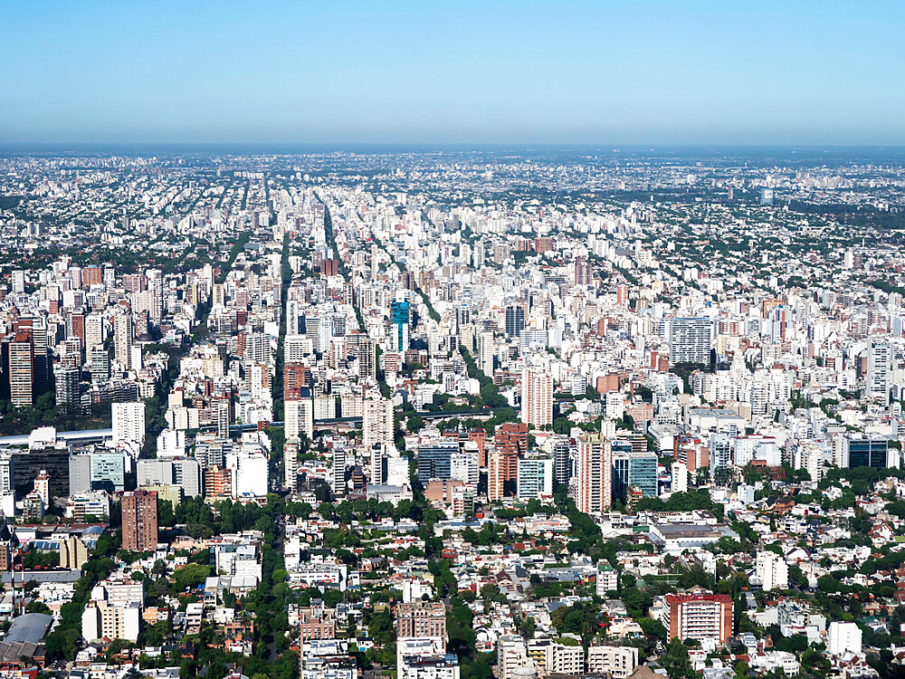 An aerial view of the capital city of Buenos Aires taken from a commercial flight, Buenos Aires, Argentina, South America