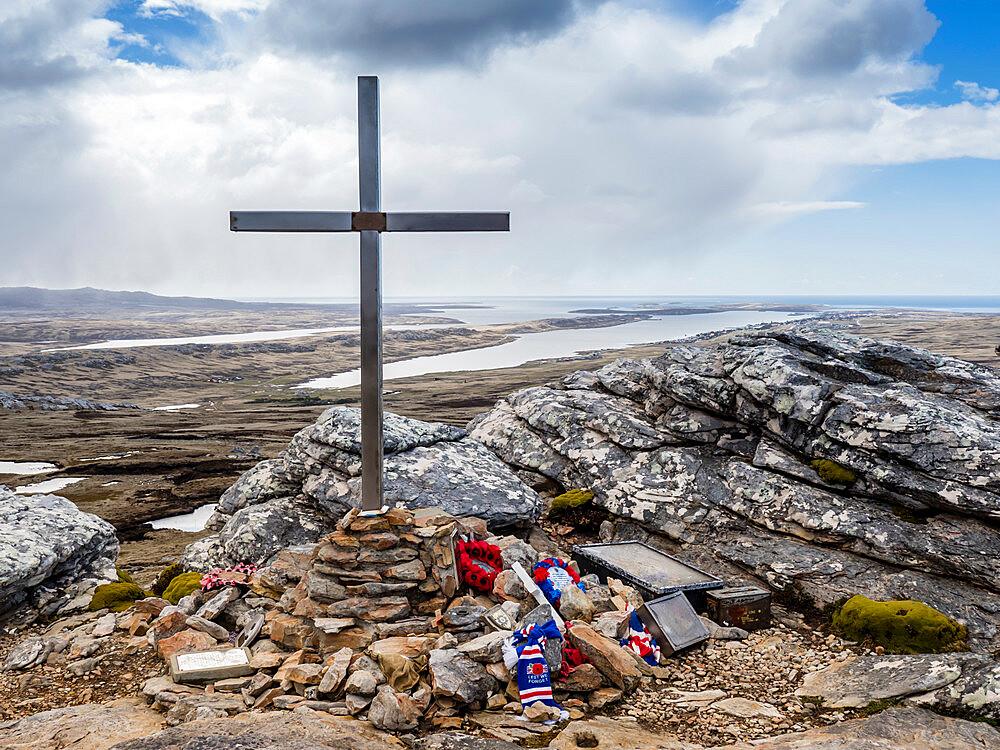 Scots Guards Memorial to the Battle of Tumbledown Mountain on 14 June 1982, Stanley, Falkland Islands, South America