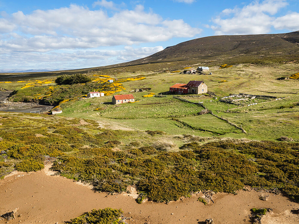 View of the sheep settlement abandoned in 1992 on Keppel Island, Falkland Islands, South America - 1112-4617