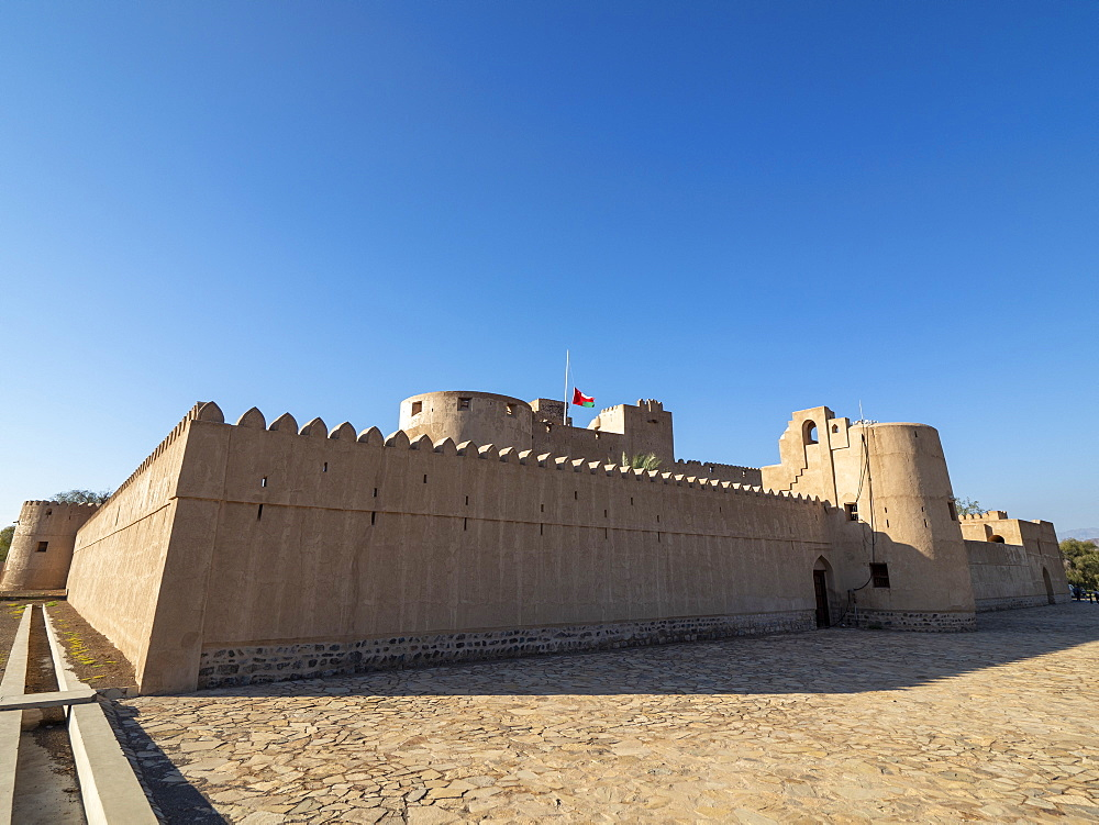 Exterior view of the Castle of Jabreen, a 17th century fortress near Bahla, Sultanate of Oman, Middle East