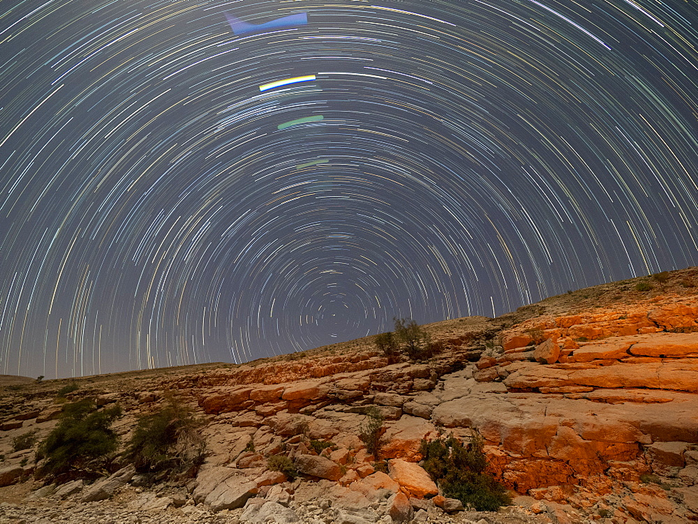Star trails at night in Wadi Bani Khalid, Sultanate of Oman, Middle East