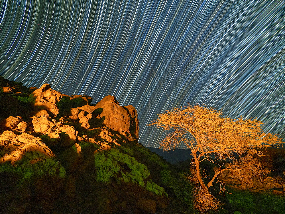 Star trails at night in Wadi Mistall, Sultanate of Oman, Middle East