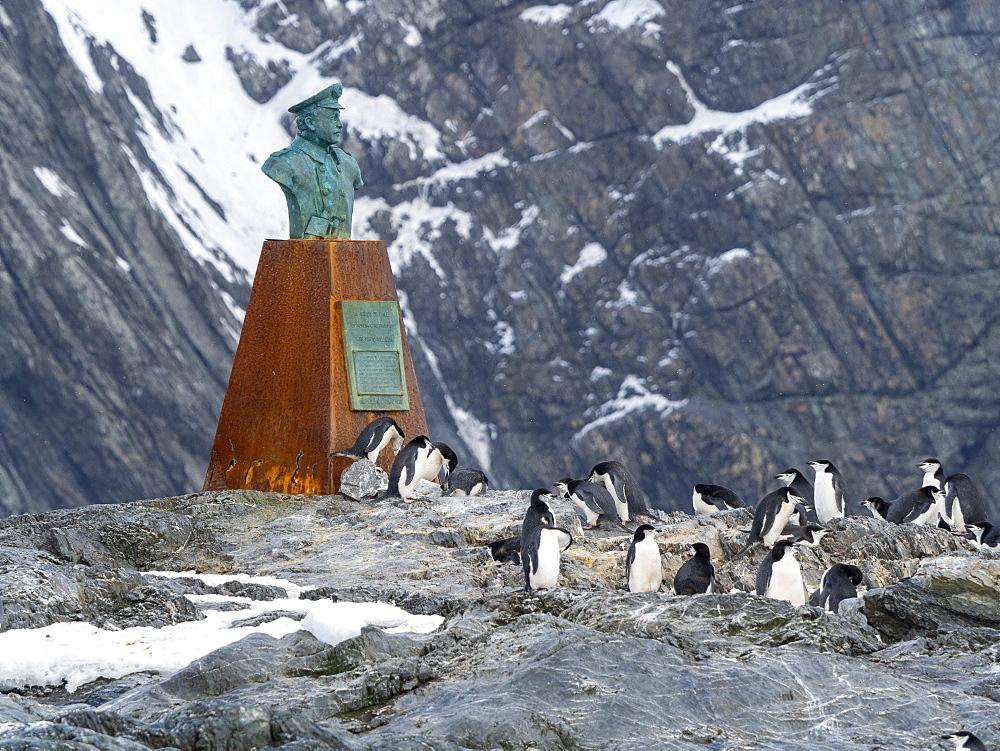 The statue of Piloto Pardo at Point Wild, Elephant Island, Antarctica, Polar Regions