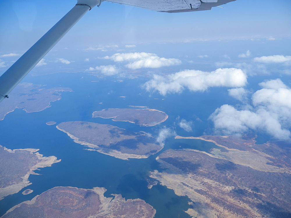 Aerial view of Lake Kariba, the world's largest man-made lake and reservoir by volume, Zimbabwe.