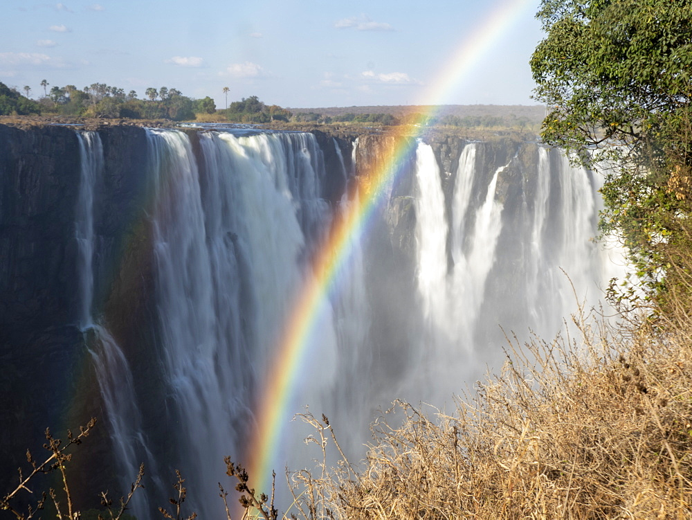 View of Victoria Falls on the Zambezi River, straddling the border of Zambia and Zimbabwe,