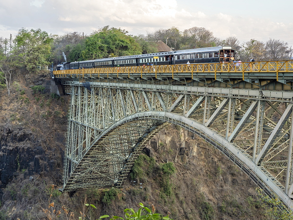 View of the bridge over Victoria Falls on the Zambezi River, straddling the border of Zambia and Zimbabwe,