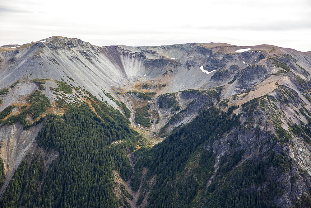 Receeded glacier on Mt. Rainier from the Burroughs Mountain Trail, Mt. Rainier National Park, Washington, USA.