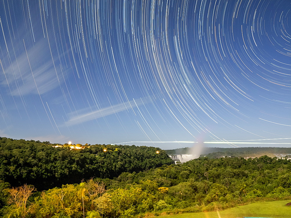 Star trails at Iguazú Falls, Misiones Province, Argentina.