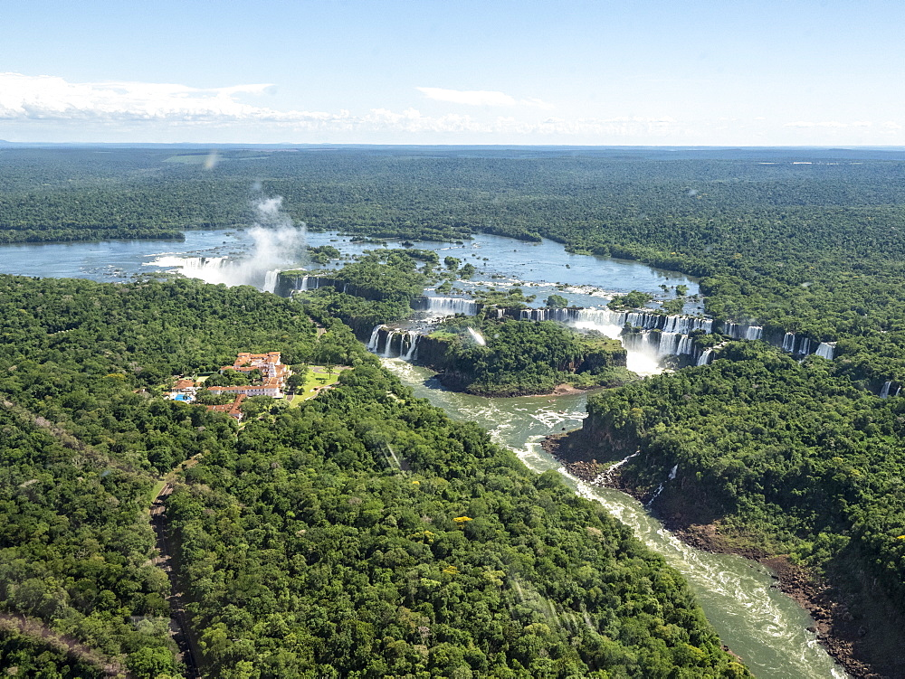 Aerial view by helicopter of Iguazv? Falls, Cataratas do Iguav?u, Paranv?, Brazil. - 1112-5108