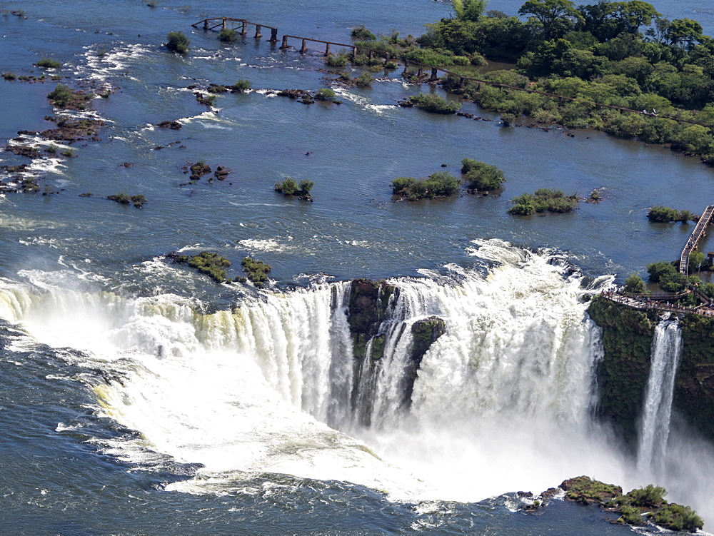 Aerial view by helicopter of Iguazv? Falls, Cataratas do Iguav?u, Paranv?, Brazil. - 1112-5110