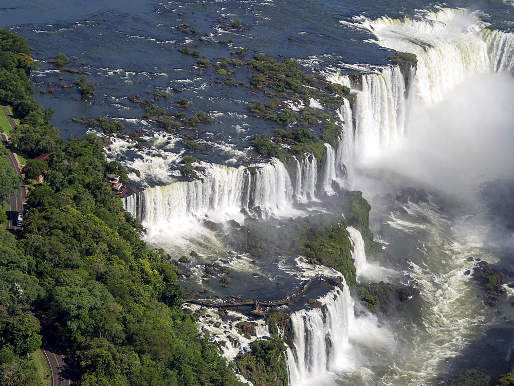 Aerial view by helicopter of Iguazv? Falls, Cataratas do Iguav?u, Paranv?, Brazil. - 1112-5111