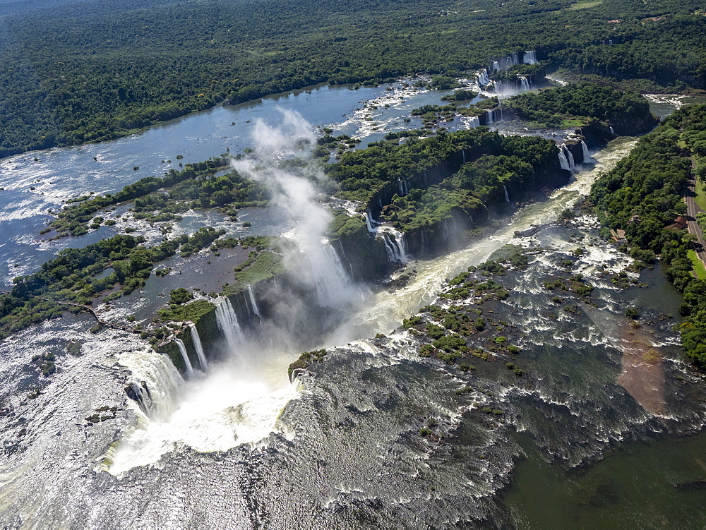 Aerial view by helicopter of Iguazv? Falls, Cataratas do Iguav?u, Paranv?, Brazil. - 1112-5112