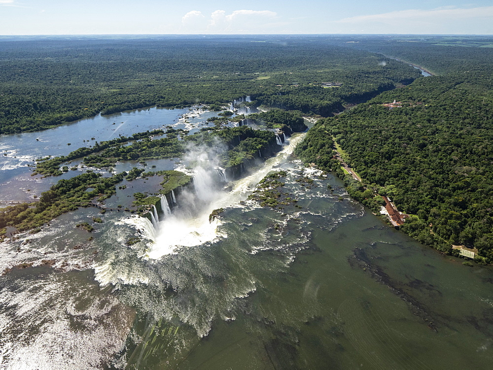Aerial view by helicopter of Iguazv? Falls, Cataratas do Iguav?u, Paranv?, Brazil. - 1112-5113