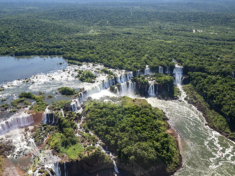 Aerial view by helicopter of Iguazv? Falls, Cataratas do Iguav?u, Paranv?, Brazil. - 1112-5114