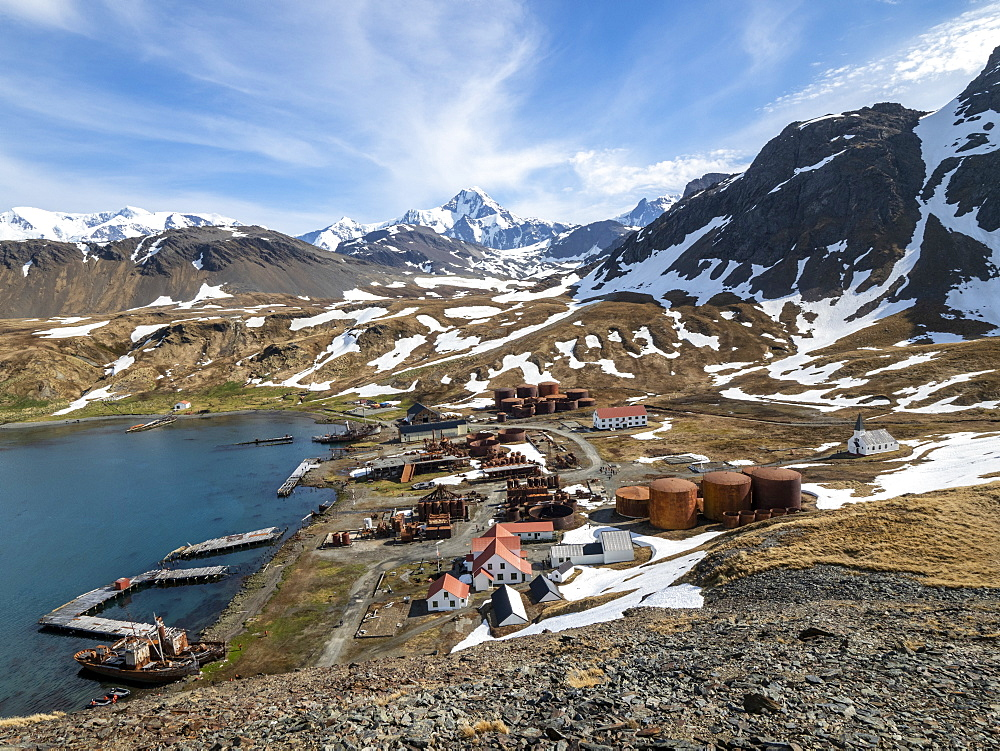 View of the abandoned Norwegian whaling station at Grytviken, in East Cumberland Bay, South Georgia.