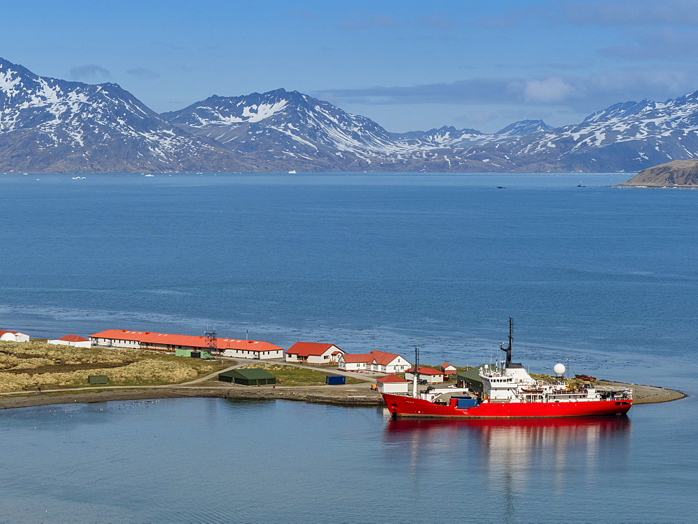 British Antarctic Survey research ship at King Edward Point in East Cumberland Bay, South Georgia.