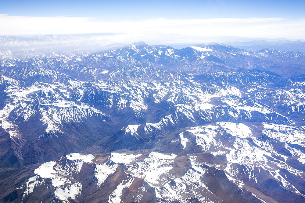 Aerial view of the snow-capped Andes Mountain Range, Chile, South America - 1112-5268