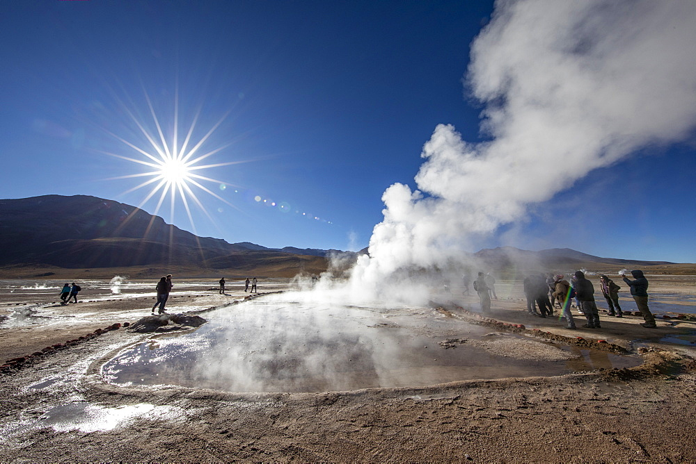 Tourists at the Geysers del Tatio (El Tatio), the third largest geyser field in the world, Andean Central Volcanic Zone, Antofagasta Region, Chile, South America - 1112-5278