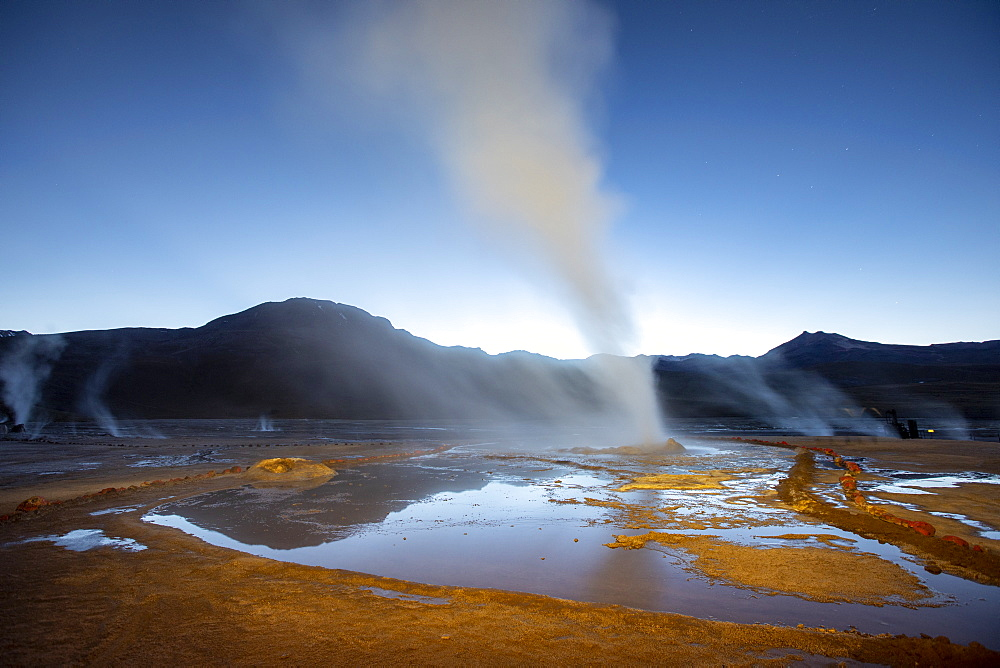 Pre-dawn light on the Geysers del Tatio (El Tatio), the third largest geyser field in the world, Andean Central Volcanic Zone, Antofagasta Region, Chile, South America - 1112-5280