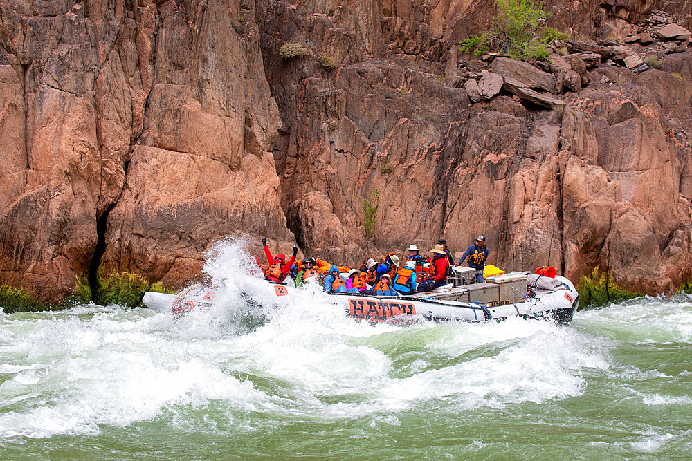 Shooting the rapids in a raft on the Colorado River, Grand Canyon National Park, Arizona, USA, North America. - 1112-5706