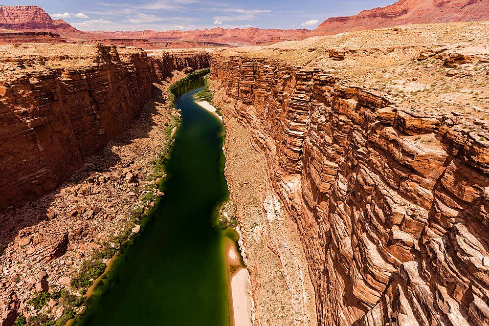 View of the Colorado River from the Glen Canyon Dam Bridge on Highway 89, Arizona, USA, North America. - 1112-5731
