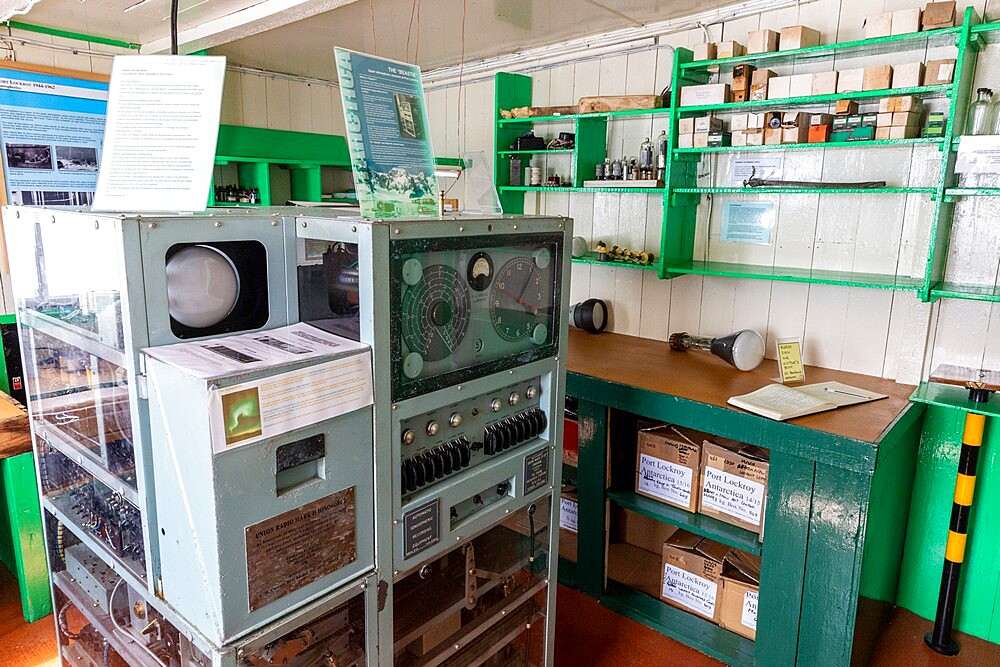 Interior of former British Base A, now a museum and post office at Port Lockroy on tiny Goudier Island, Antarctica, Polar Regions - 1112-5825