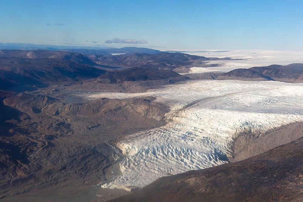 Aerial view of the UNESCO World Heritage Site of Ilulissat Icefjord, near Ilulissat (Jakobshavn), Greenland, Polar Regions - 1112-5828
